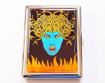 Medusa Cigarette Case, Cigarette box, Cigarette Case, Metal cigarette case, Metal Wallet, Medusa, Case for smokes, Face of Medusa (5069)