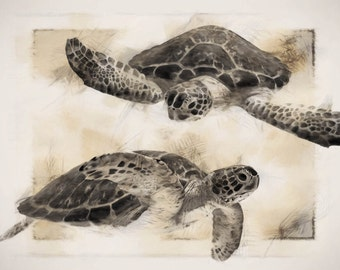 SEA TURTLE PRINT - sea life art, sea turtle painting, marine life art, turtle lover, turtle gift, sea life decor, turtle wall decor