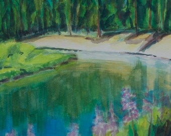 Small Print Oregon Landscape  Signed, Matted Deschutes River Lupine Flowers  Bull Bend CG Sherri McDowell Artist FREE SHIPPING