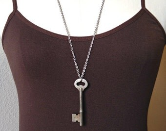 Authentic vintage skeleton key necklace No.1, long chain necklace, great for layering, skeleton key jewelry
