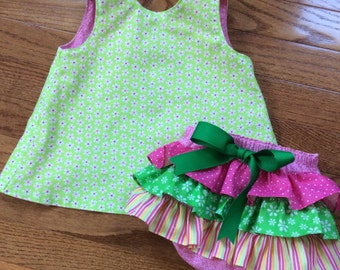 Open Back Baby Sundress and Ruffled Diaper Cover Set