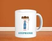 Farm Kids Personalized Mug - Farm Girl with Name, Child Personalized Ceramic Mug Gift