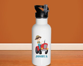 Farmer Kids Water Bottle - Farm Boy with Name, Child Personalized Stainless Steel Bottle BPA Free Back to School