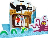 Pirates Paper Theater - DIY Paper Craft Kit - Puppets - Paper Toy