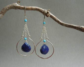 Blue Gemstone Chandelier Earrings: Boho Chic Lapis Lazuli, Turquoise, Hand Hammered Sterling Silver