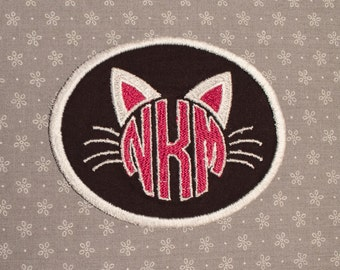 Custom Cat Monogram Embroidered Patch - Black with White Trim