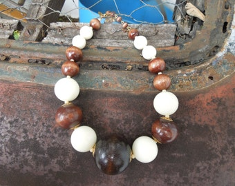 Signed Miriam Haskell Necklace Vintage Wood and White Bead