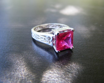 15% Off Sale. S336 Made to Order...New Sterling Silver Antique Style Filigree Ring With 2 Carat Lab Dark Pink Sapphire Gemstone