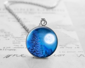 Blue Moon Necklace, Tree Necklace, Woodland Jewelry, Moonlight Necklace, Nature Gifts, Romantic Gift, Moon Pendant, Love Gift, N539