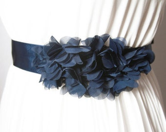 Bridal Navy Blue Chiffon Flower Sash Belt - Wedding Dress Sashes Belts