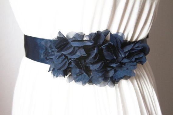 Bridal Navy Blue Chiffon Flower Sash Belt Wedding Dress