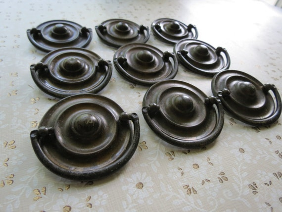 9 antique drawer pulls vintage salvaged metal handles set for Antique bureau knobs