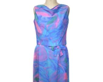 vintage 1960s watercolor dress set / tie dye abstract / dress tank top / wiggle dress / 60s dress / women's vintage dress / size medium