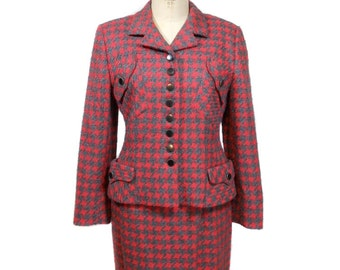 vintage 1980s does 1940s houndstooth suit / Teenflo / red orange gray / wool blend / 40s silhouette / women's vintage suit / size 40