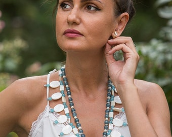 Mint blue unique large statement bib necklace with white mother of pearl oval beads, light blue jade, Swarovski, elegant summer necklace