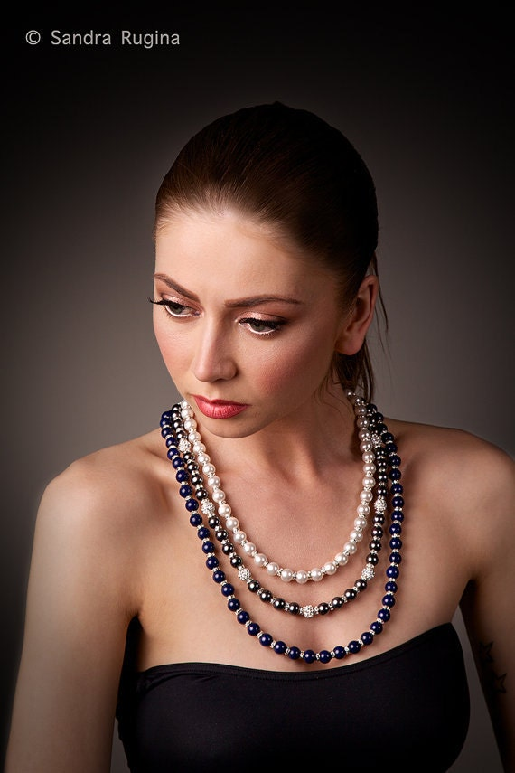 Glam rich large statement necklace with white pearls and dark gray pearls, lapis lazuli, Swarovski crystal balls and spacers