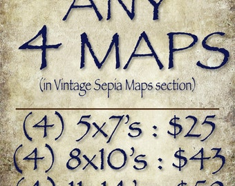 ANY FOUR (4) Vintage Sepia Maps (in the Vintage Sepia Maps section of this Shop)
