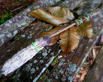 White Sage Smudge Wand-Pay with PayPal get a free spell in the box! Hand-Tied Smudge Stick  w Oak Handle and Leather Accent-Handcrafted