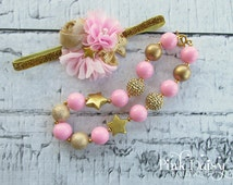 """Headband & Necklace Set. Pink and Gold """"Twinkle Little Star"""" Clustered Flower Headband and Chunky Necklace Set. Birthday Accessories."""