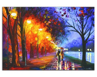 Colorful City Park 'Alley by the Lake' Contemporary Cityscape Art, Modern Romantic Lovers, Metal Giclee Painting, Rainbow Artwork by Leonid
