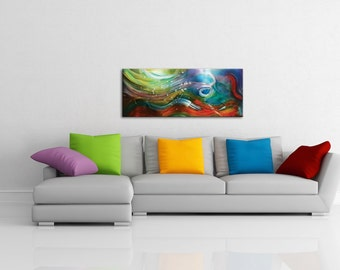 Colorful Abstract Art on Metal - Watercolor Art Style 'Esne Composition' - 48x19in. - Tropical Themed Ocean Painting - Rainbow Artwork