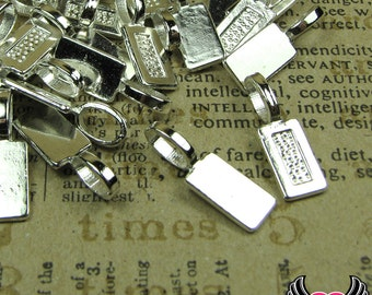 25 pcs Silver Plated Tag GLUE ON BAILS Medium Size   Ships Fast From Florida