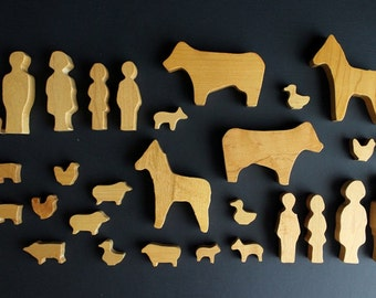 Vintage Farm Family and Animal Wood Block Play Set made by Three Worlds 30 Piece Set