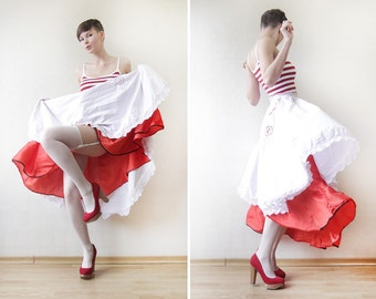 White pink red layered cancan folk dancer full midi skirt