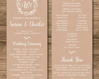 Rustic Wedding Program, Ceremony Program - PRINTABLE files - rustic wedding, garden wedding, leaf wreath, kraft paper, brown paper - Susan