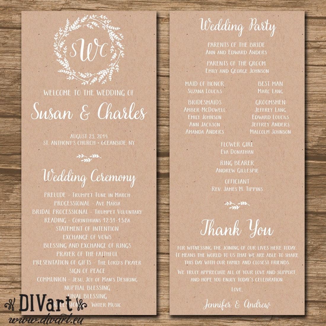 Rustic Wedding Program Ceremony Program PRINTABLE files