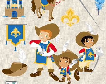 Three Musketeers Clip Art - Musketeers Clipart, Vector Graphics - INSTANT DOWNLOAD