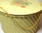 Vintage 1940's Round WICKER Sewing Box w Floral Transfer Decal Lid Rope Handles COTTAGE Chic Craft Studio Decor GIft Sewing Enthusiast Kit