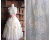 Cottage Lane 1950s Strapless Cream/White Party Dress with Pink/Blue/Green/Yellow Flocked Velvet Roses/Sash Detail