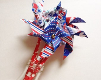 Paper Pinwheels / Non-Spinning Paper Pinwheels / 4th of July Pinwheels / Patriotic Pinwheels / Red, White & Blue Pinwheels / Patriotic Decor