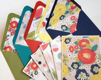 Set of 5 // Blank Note Card Set // Blank Stationery // Lined Envelopes // Decorative Envelopes // Floral Note Cards // Handmade Envelopes