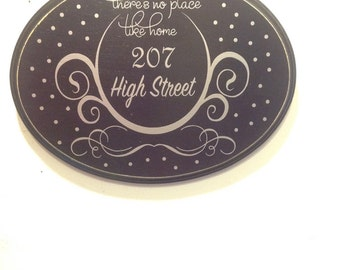 Indoor/Outdoor Home Address Plaque Sign.There's no place like Home Sign.Black and Silver. Housewarming Gift.  Wedding Gift. Engagement Gift.