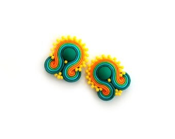 Clip on earrings - Soutache earrings - Gift for wife - Gift for mom - Gift for girlfriend - Gift for coworker - Valentines Day gift for wife