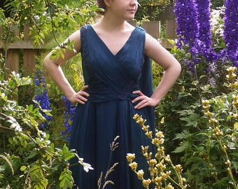 Deep Blue Eve Valère of Knightsbridge 1950's Vintage Evening Gown