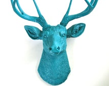 All Dark Turquoise Faux Taxidermy Deer Head wall hanging wall mount fake animal head:  nursery decor office gift for her/him modern woodland