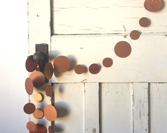 Copper Coin Paper Garland - Circle Garland in Copper Shimmer and Glitter cardstock