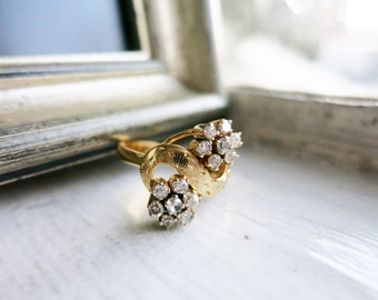 Vintage Two Flower Ring Made of Tiny Diamonds or Brilyantitos in Cluster Setting in 14K Gold from the Philippines (US Ring Size 5.5)