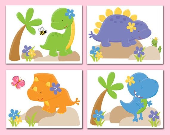 Dinosaur nursery decor wall art prints baby girl t rex dino for T rex bedroom decor