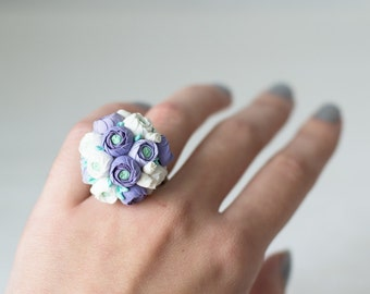 SALE Lilac flower ring - floral ring - flower jewelry - ranunculus flower - flower jewelry - lavender white - blossom ring - garden wedding