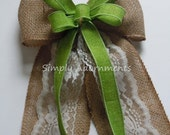 Greenery Wedding Bow Lime Burlap and Lace Wedding Aisle Pew Bow Burlap Wedding Bow Burlap Country Wedding Chair Bow