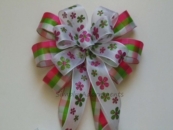 Pink Green Flowers Spring Wreath Bow Pink Green Plaid Pew Bow Pink Green Birthday Party Pink Green Shower Decoration Flower Gifts Bow