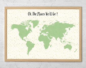 Travel Map Poster Oh, the Places we'll Go - World Map Poster - Travel Map Poster - Art Print - Travel Journal - Travel Poster - Gift Ideas