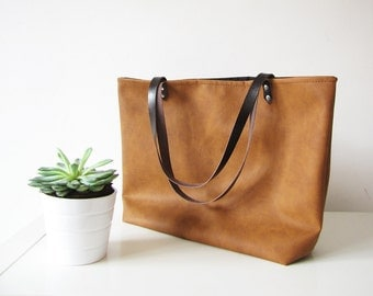 Large Vegan Leather Tote Bag, Slouchy Tote, Cognac Color, Distressed Rustic Look, Casual tote, Top handle, Handbag