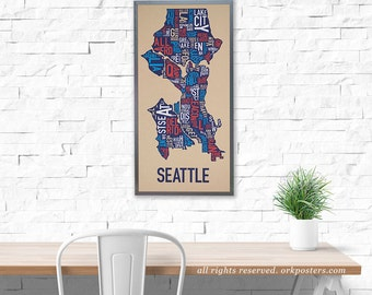 Original Seattle Typographic Neighborhood Map
