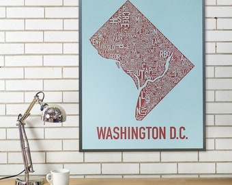 Washington D.C. Typographic Neighborhood Map