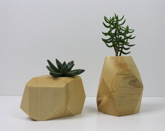 Small Modern Faceted Succulent Planter in Reclaimed Spruce